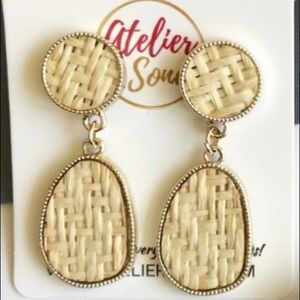 Rattan Straw Stud Earrings
